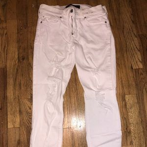 Express distressed white jean cropped